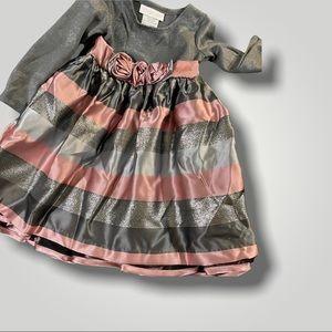 18 mo - Pink and gray party dress- long sleeves